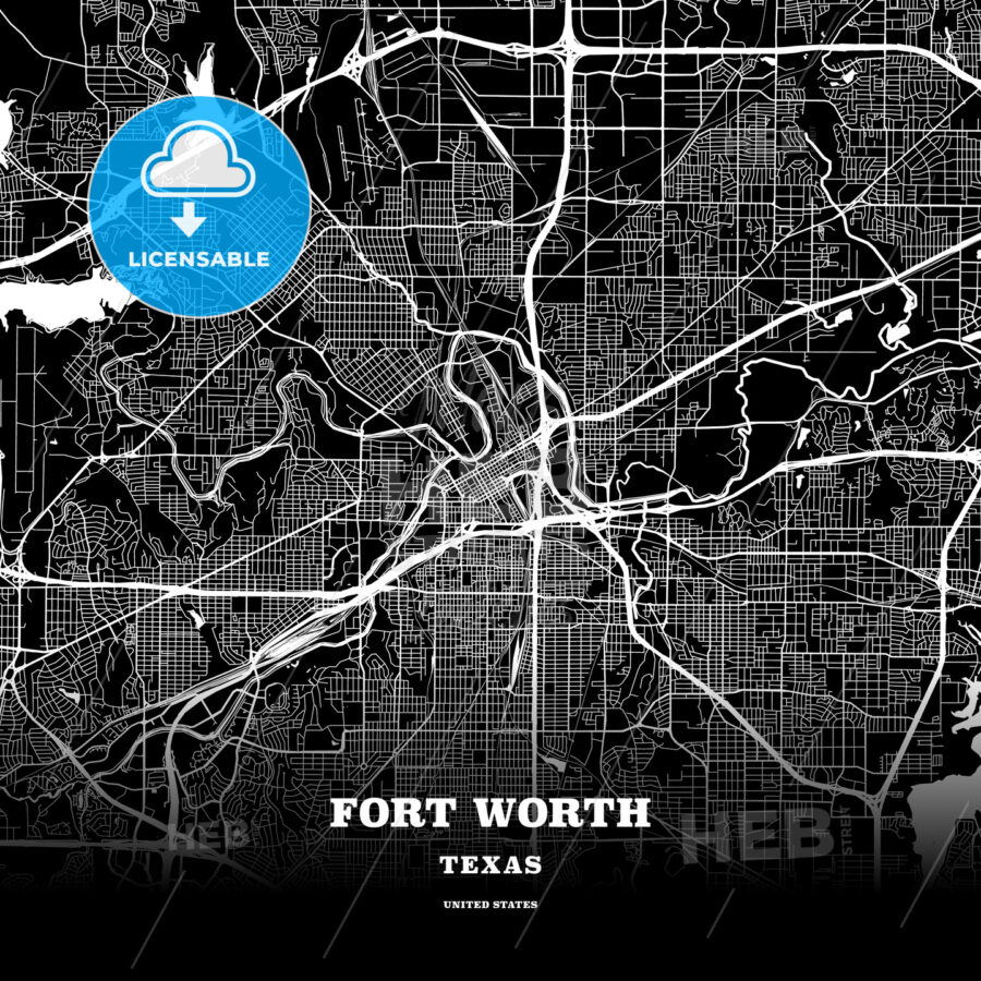 Black map poster template of Fort Worth, Texas, USA | HEBSTREITS