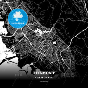 Black map poster template of Fremont, California - HEBSTREITS