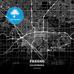 Black map poster template of Fresno, California - HEBSTREITS