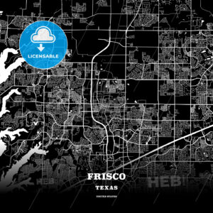 Black map poster template of Frisco, Texas - HEBSTREITS