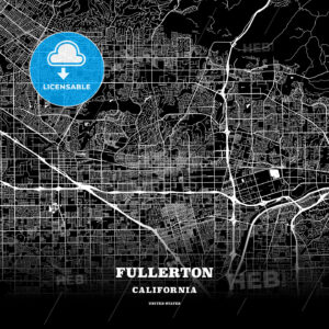 Black map poster template of Fullerton, California, USA - HEBSTREITS
