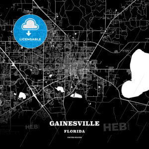 Black map poster template of Gainesville, Florida - HEBSTREITS