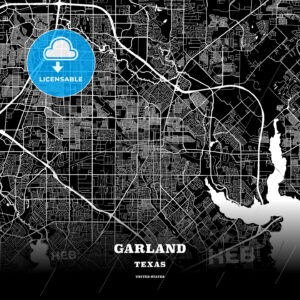 Black map poster template of Garland, Texas - HEBSTREITS