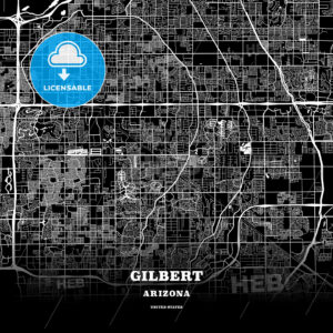 Black map poster template of Gilbert, Arizona - HEBSTREITS