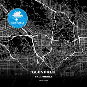 Black map poster template of Glendale, California - HEBSTREITS