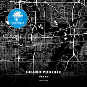 Black map poster template of Grand Prairie, Texas - HEBSTREITS