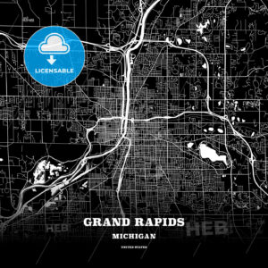 Black map poster template of Grand Rapids, Michigan - HEBSTREITS