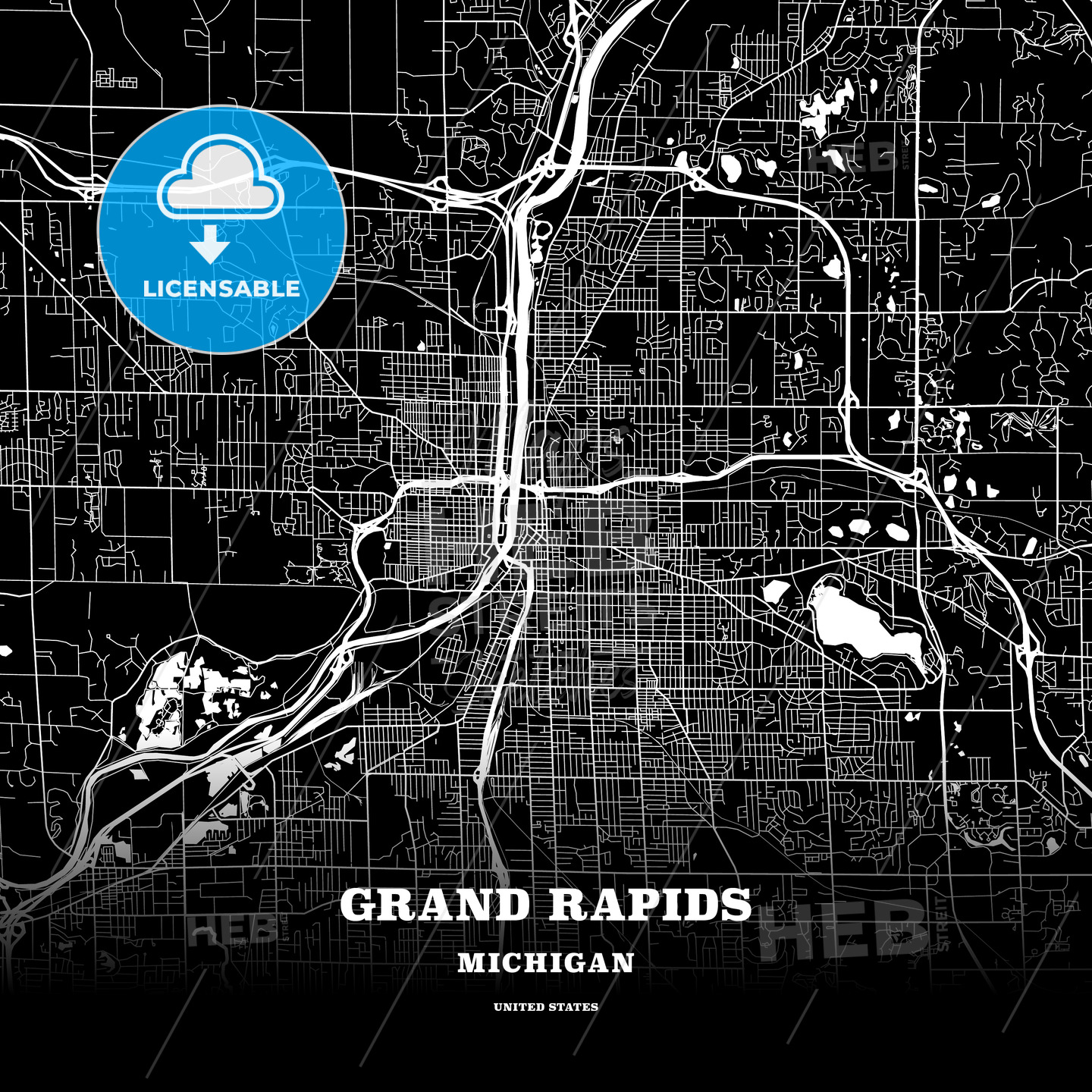 Black Map Poster Template Of Grand Rapids Michigan Usa Hebstreits Sketches