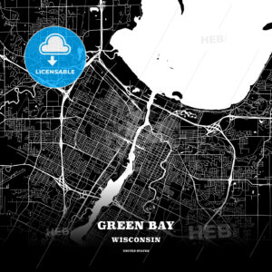 Black map poster template of Green Bay, Wisconsin - HEBSTREITS
