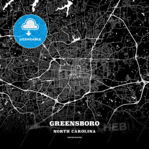 Black map poster template of Greensboro, North Carolina - HEBSTREITS