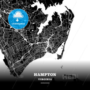 Black map poster template of Hampton, Virginia - HEBSTREITS