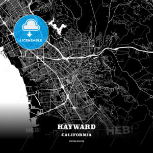 Black map poster template of Hayward, California - HEBSTREITS