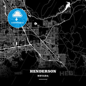 Black map poster template of Henderson, Nevada - HEBSTREITS