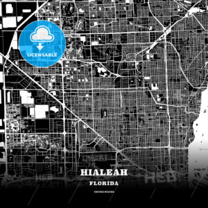 Black map poster template of Hialeah, Florida - HEBSTREITS