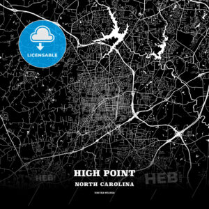 Black map poster template of High Point, North Carolina, USA - HEBSTREITS