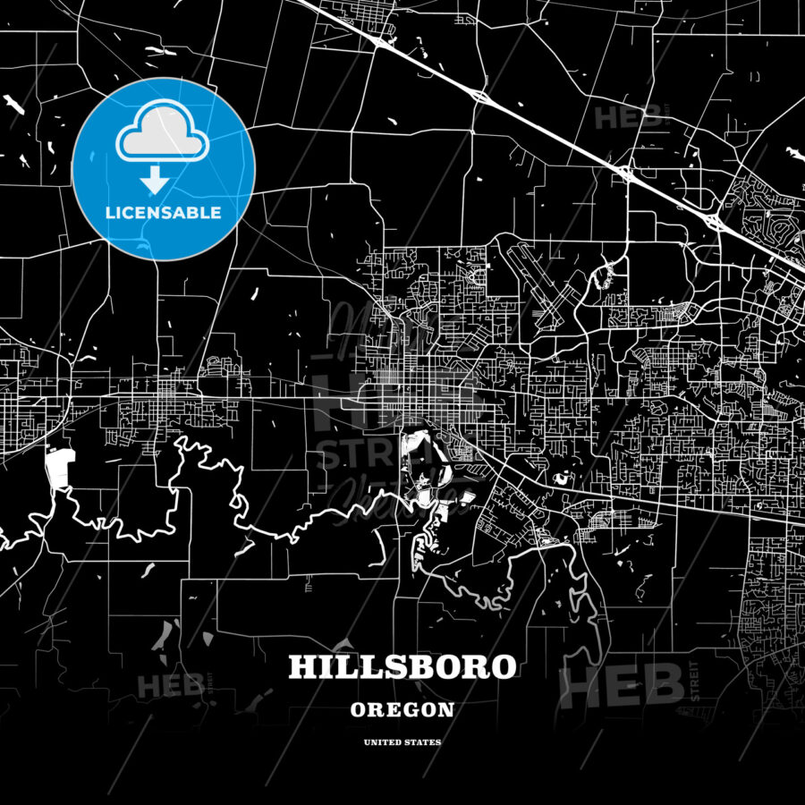 Black map poster template of Hillsboro, Oregon, USA | HEBSTREITS