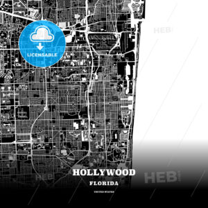 Black map poster template of Hollywood, Florida - HEBSTREITS