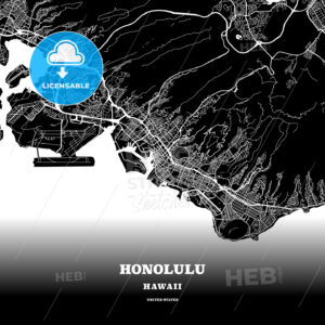 Black map poster template of Honolulu, Hawaii - HEBSTREITS