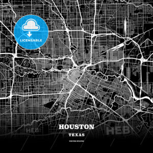 Black map poster template of Houston, Texas - HEBSTREITS