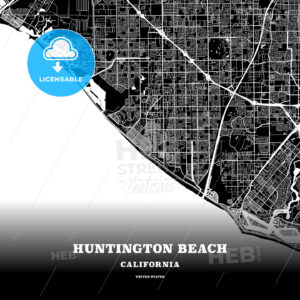 Black map poster template of Huntington Beach, California - HEBSTREITS