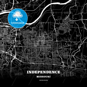 Black map poster template of Independence, Missouri, USA - HEBSTREITS