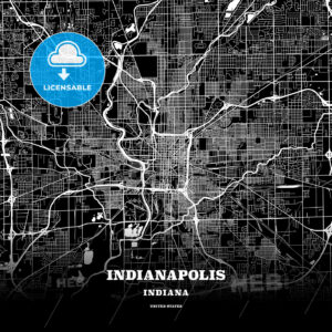 Black map poster template of Indianapolis, Indiana - HEBSTREITS