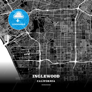 Black map poster template of Inglewood, California, USA - HEBSTREITS