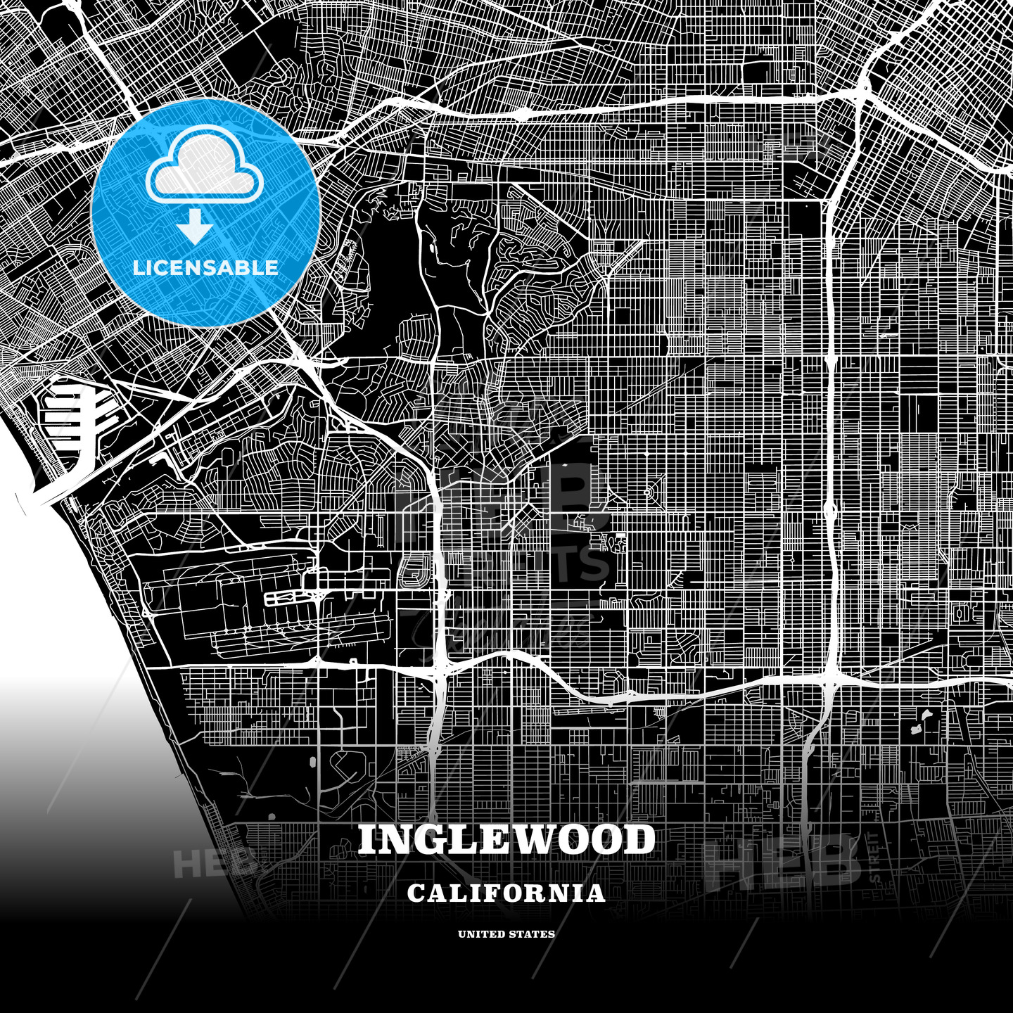 Black map poster template of Inglewood, California, USA