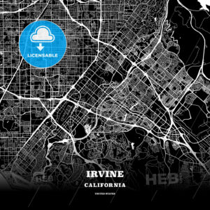 Black map poster template of Irvine, California - HEBSTREITS