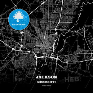 Black map poster template of Jackson, Mississippi - HEBSTREITS