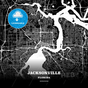 Black map poster template of Jacksonville, Florida - HEBSTREITS