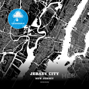 Black map poster template of Jersey City, New Jersey - HEBSTREITS
