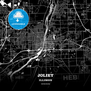 Black map poster template of Joliet, Illinois - HEBSTREITS