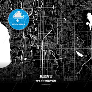 Black map poster template of Kent, Washington - HEBSTREITS