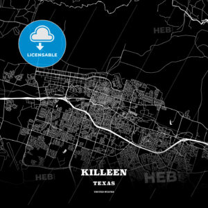 Black map poster template of Killeen, Texas, USA - HEBSTREITS