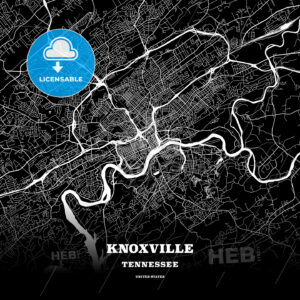 Black map poster template of Knoxville, Tennessee - HEBSTREITS