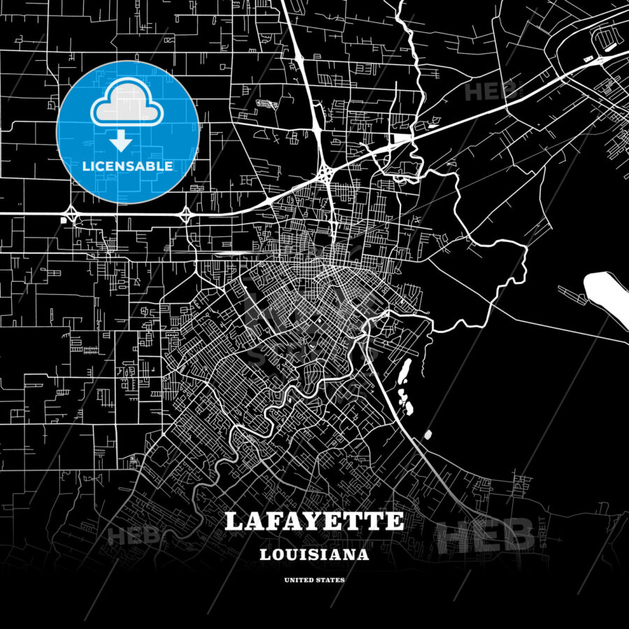 Black map poster template of Lafayette, Louisiana - HEBSTREITS