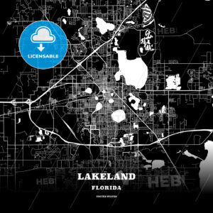 Black map poster template of Lakeland, Florida - HEBSTREITS
