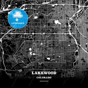 Black map poster template of Lakewood, Colorado - HEBSTREITS