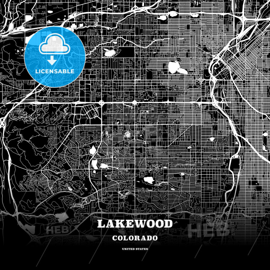 Black map poster template of Lakewood, Colorado, USA | HEBSTREITS