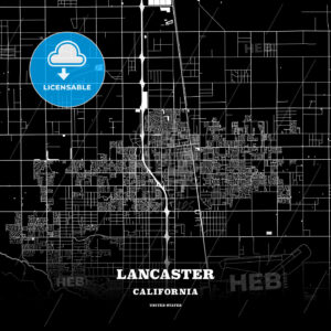 Black map poster template of Lancaster, California - HEBSTREITS