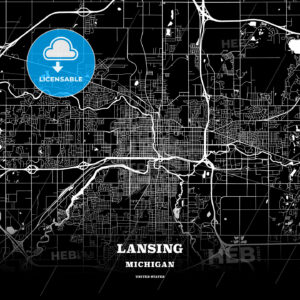 Black map poster template of Lansing, Michigan, USA - HEBSTREITS
