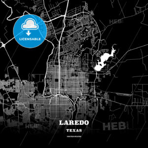 Black map poster template of Laredo, Texas - HEBSTREITS