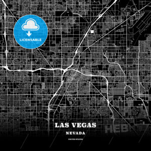 Black map poster template of Las Vegas, Nevada - HEBSTREITS