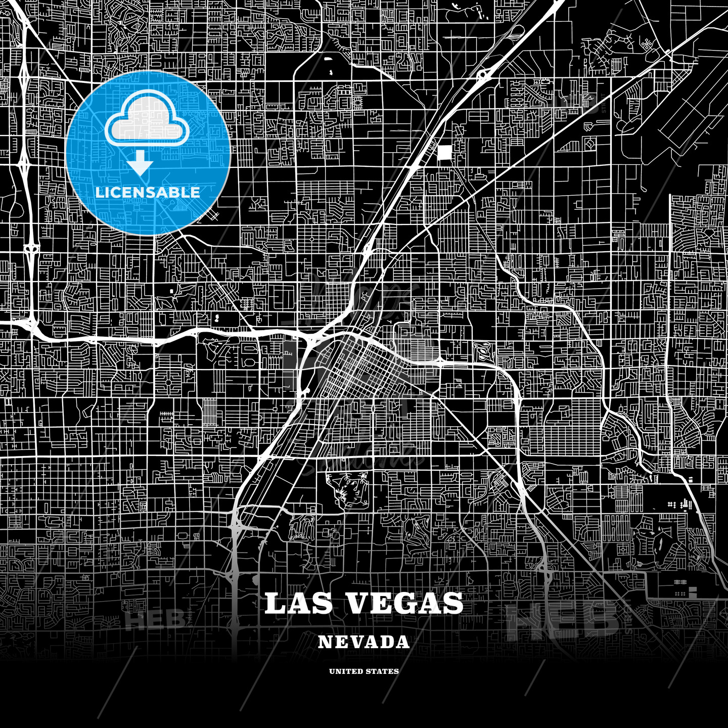 Black map poster template of Las Vegas, Nevada, USA | HEBSTREITS ...