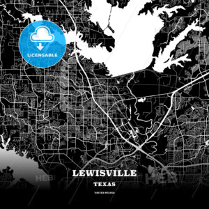 Black map poster template of Lewisville, Texas - HEBSTREITS