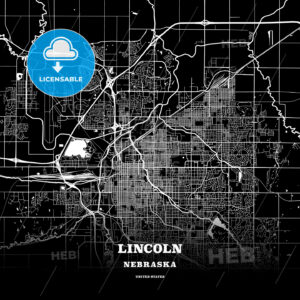 Black map poster template of Lincoln, Nebraska - HEBSTREITS