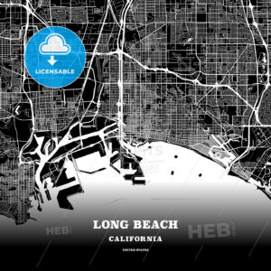 Black map poster template of Long Beach, California - HEBSTREITS