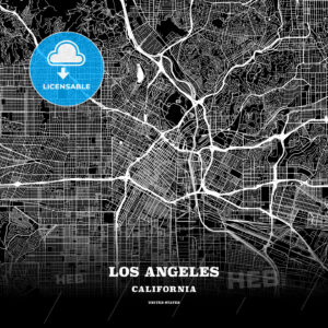 Black map poster template of Los Angeles, California - HEBSTREITS