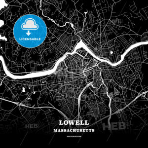 Black map poster template of Lowell, Massachusetts, USA - HEBSTREITS